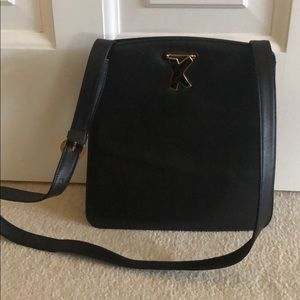 Vintage Paloma Picasso black smooth leather bag
